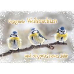 Faltkarte Weihnachten/Neu Jahr - Drei Meisen